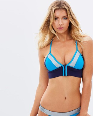 Duskii – Capri Rush Tri Bikini Top – Bikini Tops (Navy, Turquoise & Silver)
