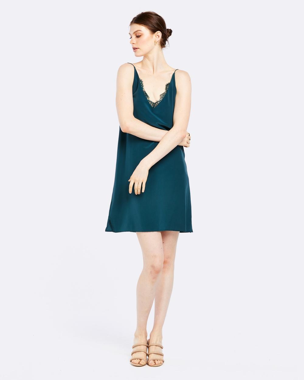 GINIA RTW Jasmin Silk Lace Dress Dresses Green Jasmin Silk Lace Dress