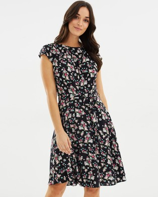 Dorothy Perkins – Floral Ditsy Pleat Neck Dress – Printed Dresses Black
