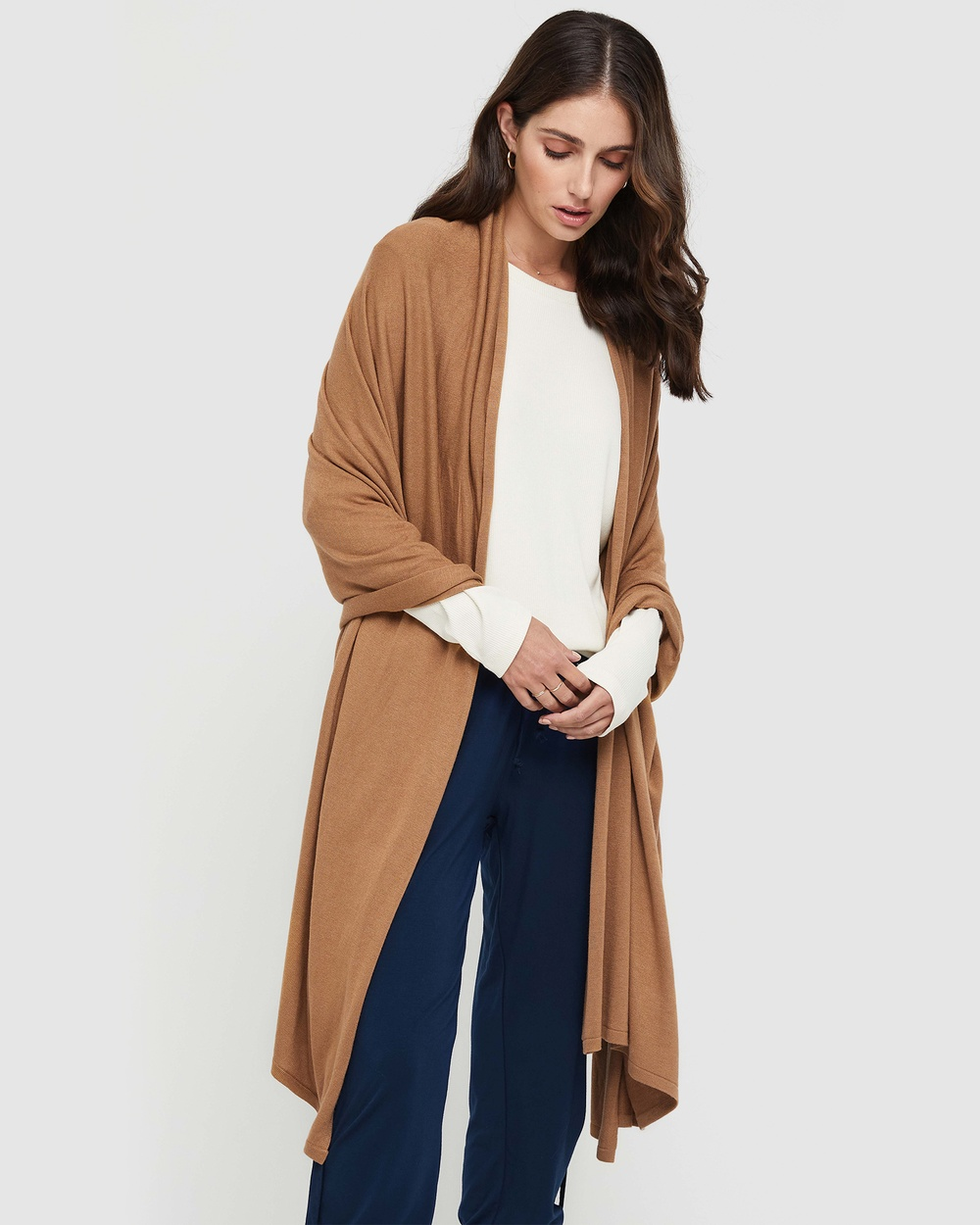 Bamboo Body Cashmere Wool Travel Wrap Wraps & Blankets Camel