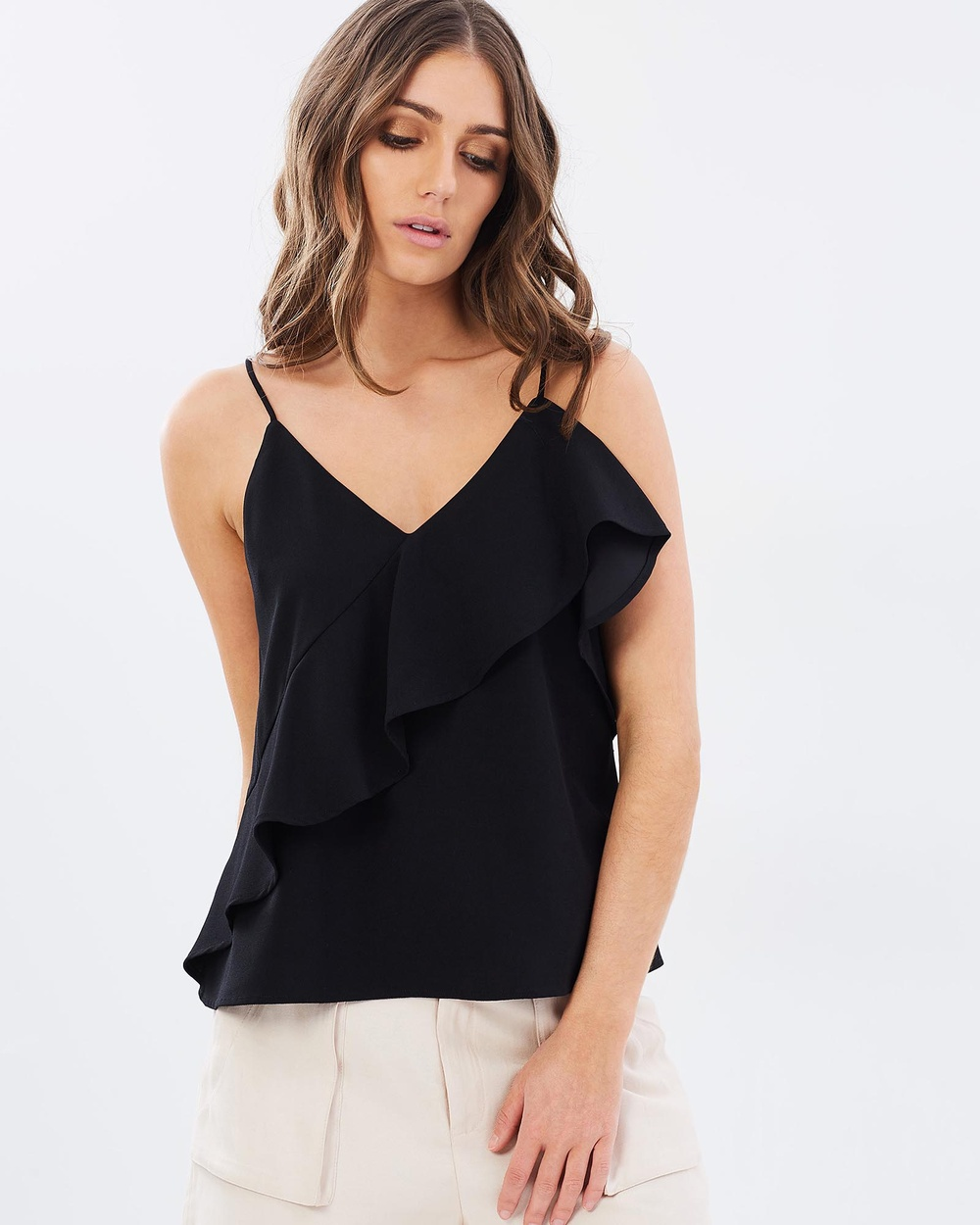 Honey and Beau Portrait Frill Top Tops Black Portrait Frill Top