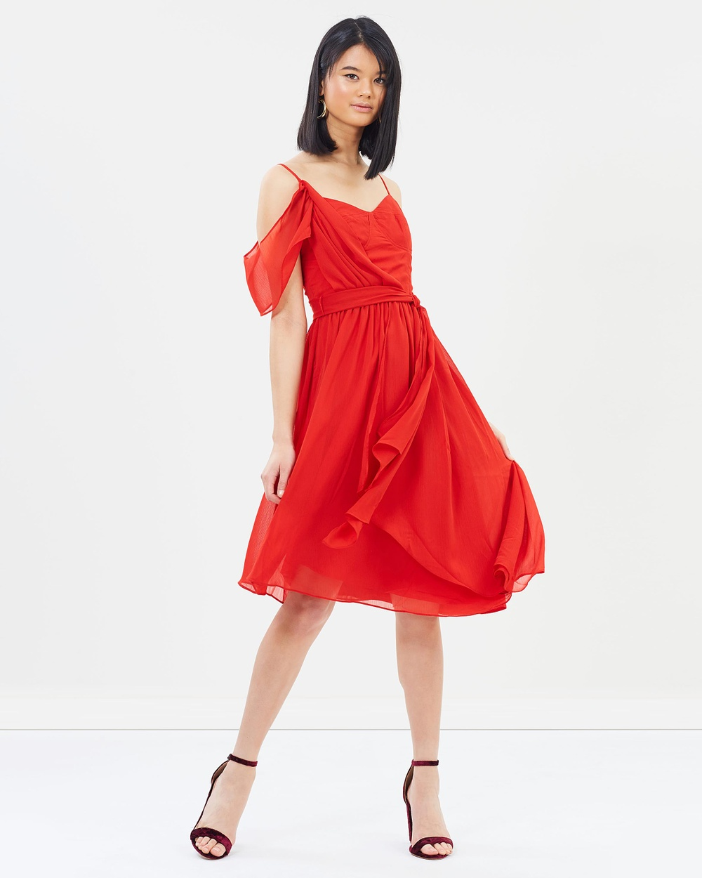 Oasis Asymmetric Midi Dress Dresses Mid Red Asymmetric Midi Dress