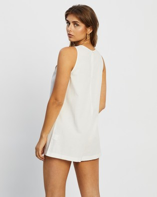 Atmos&Here Aria Linen Blend Playsuit - Jumpsuits & Playsuits (White)