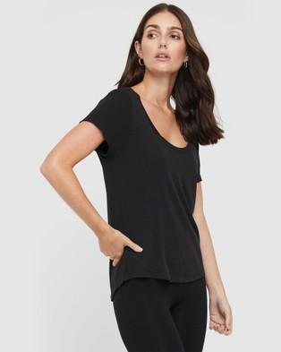 Bamboo Body Classic Scoop Neck Short Sleeve T-Shirts Black