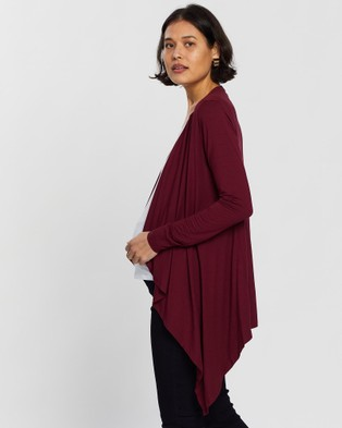 Angel Maternity Waterfall Cardigan - Jumpers & Cardigans (Red)