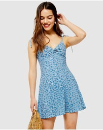 TOPSHOP Petite - Ditsy Twist Front Mini Sun Dress