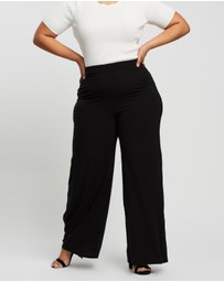 Missguided Curve - Rib Wide Leg Trousers