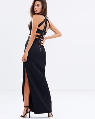 Bariano – Alice High Neck Column Jersey Gown – Dresses (Black)