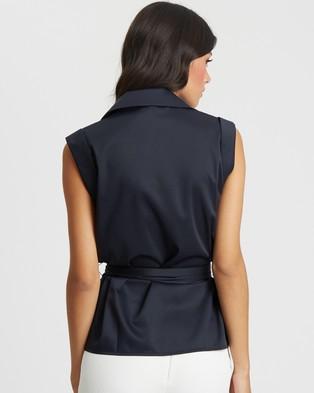 Willa Kingston Tie Top - Tops (Navy Blue)
