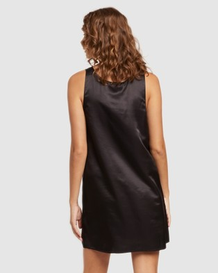 GINIA Washable Silk Chemise - Sleepwear (Black)