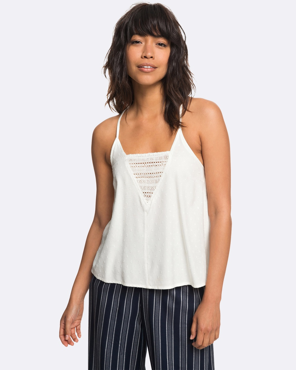 Roxy Womens Color Spaces Lace Insert Strappy Top Tops MARSHMALLOW Womens Color Spaces Lace Insert Strappy Top