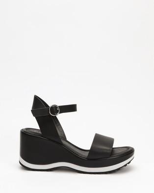 Jo Mercer Nixon Mid Heel Wedges - Heels (Black Leather)