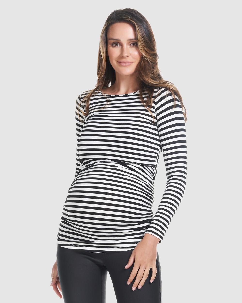 Soon Maternity - Honor Long Sleeve Feeding Top - T-Shirts & Singlets (BLACKST) Honor Long Sleeve Feeding Top