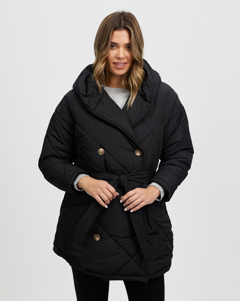 Ceres Life Longline Cocoon Puffer Jacket Coats & Jackets Black Australia