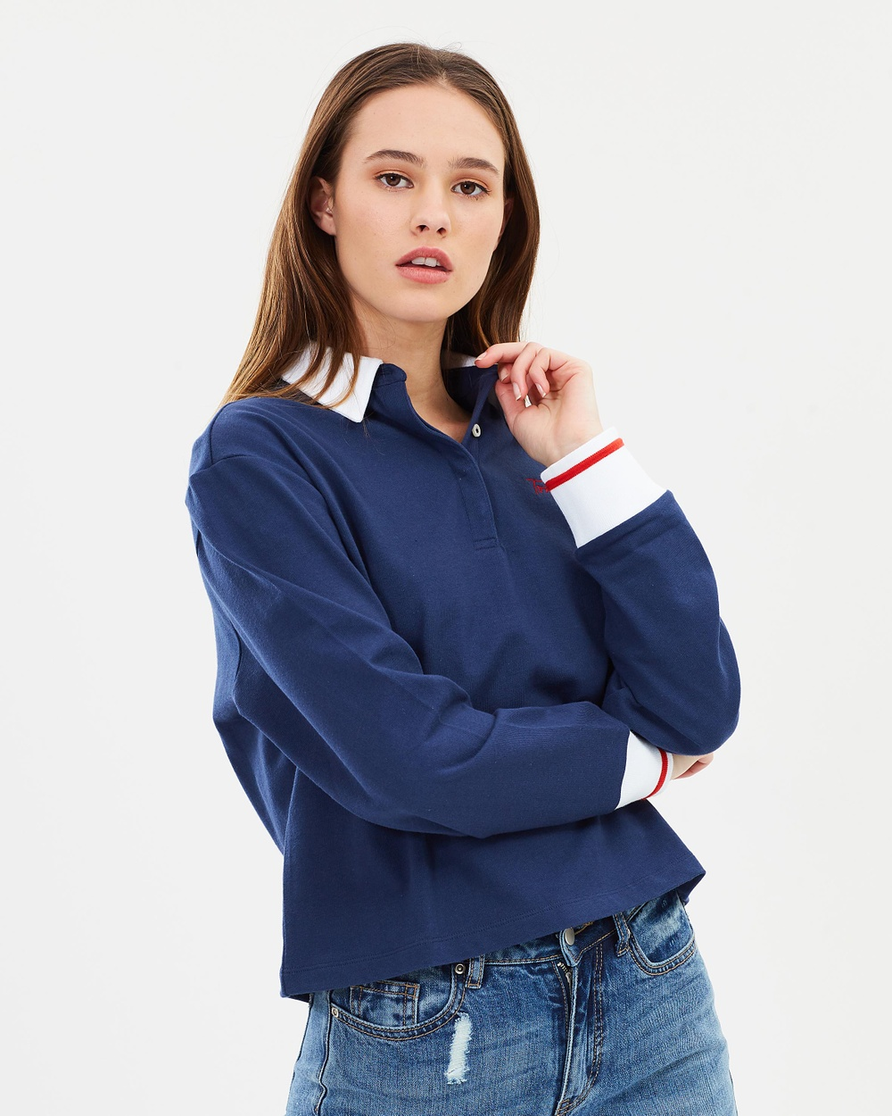 Tommy Jeans LS Rugby Shirt Tops Blue LS Rugby Shirt