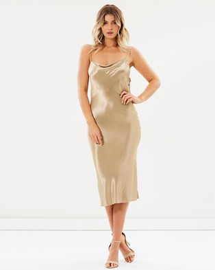 Bec & Bridge – Shimmy Nights Cowl Midi Dress Gold