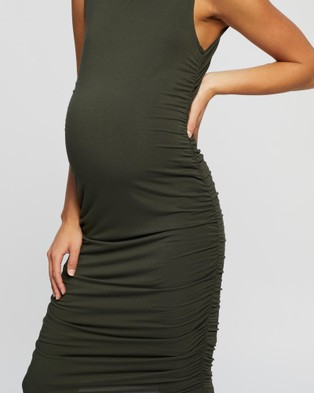 Angel Maternity Maternity Ruching Body Hugging Dress - Bodycon Dresses (Khaki)