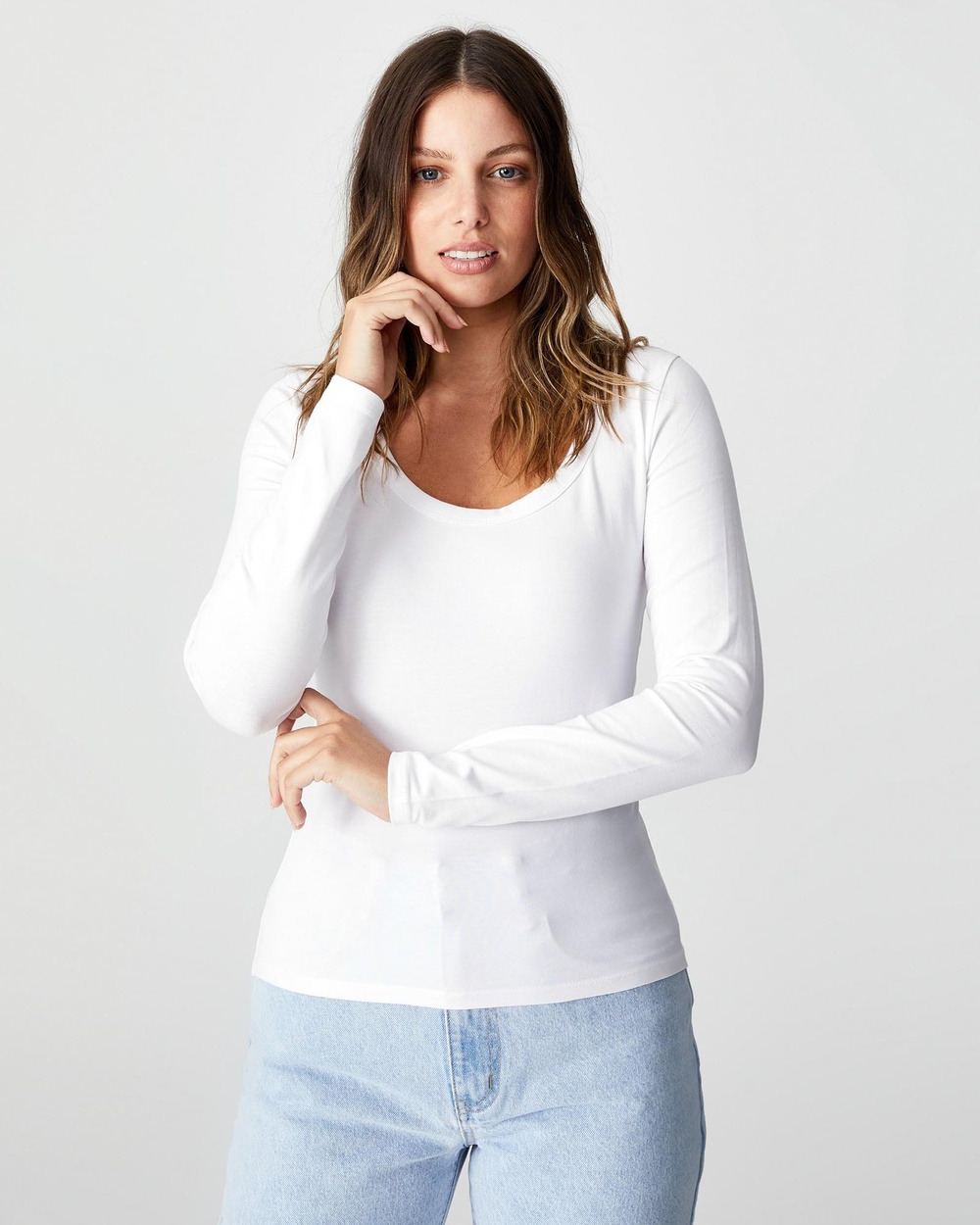 Cotton On - The Everyday Scooped Long Sleeve Top - T-Shirts & Singlets (White) The Everyday Scooped Long Sleeve Top