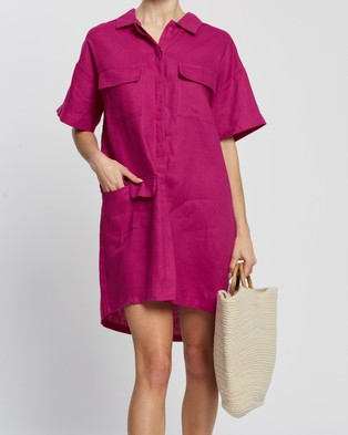 AERE Linen Utility Dress Dresses Pink