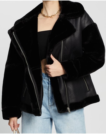 Missguided Faux Fur Sleeve Aviator Jacket Black