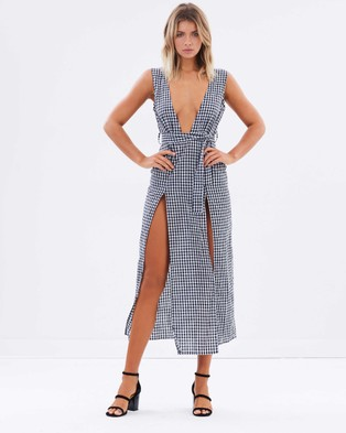 Lioness – Esperanza Plunging Dress – Dresses (Gingham Black)