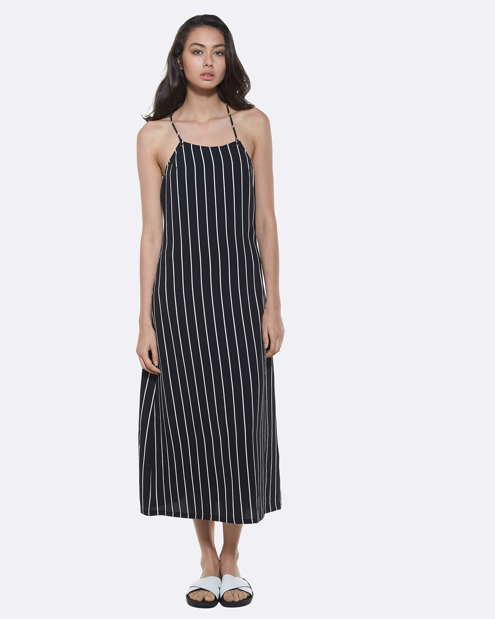 Amelius Black/White Stripe Ada Midi Dress