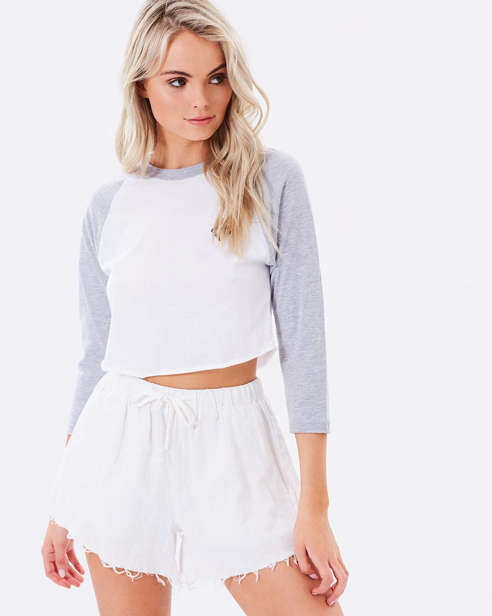 Society & Co Raglan Cropped tops White Raglan