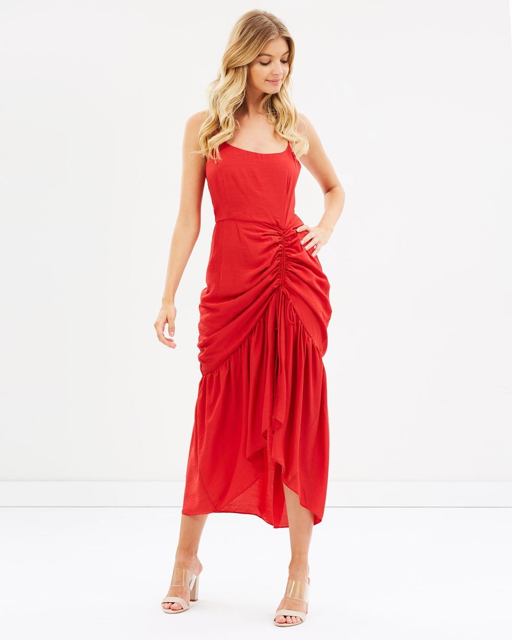 Atmos & Here ICONIC EXCLUSIVE Monica Drape Midi Dress Dresses Red ICONIC EXCLUSIVE Monica Drape Midi Dress