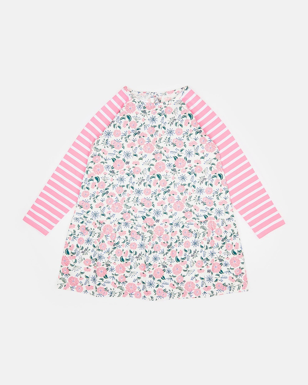 PLAY etc Floral with Pink Sleeves A-Line Flowers and Stripes Dress