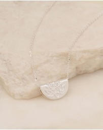 By Charlotte - Lotus Short Silver Pendant Necklace