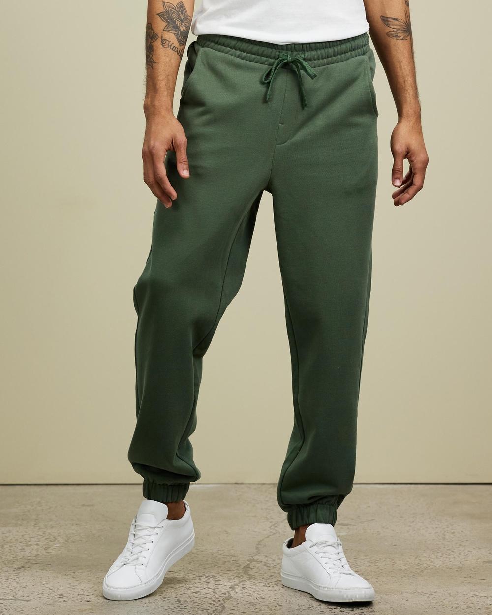 AERE Organic Cotton Track Pants Sweatpants Khaki