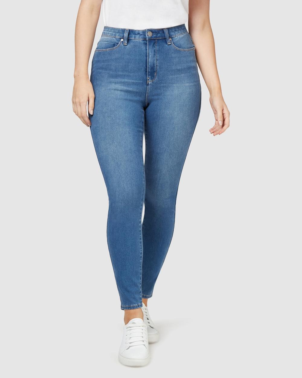 Jeanswest Freeform 360 Contour Curve Embracer High Waisted Skinny 7 8 Jeans True Blue High-Waisted True Blue 7-8 Australia