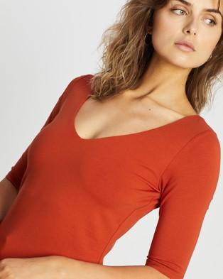 Forcast Lana Elbow Sleeve Tee - T-Shirts & Singlets (Rust)