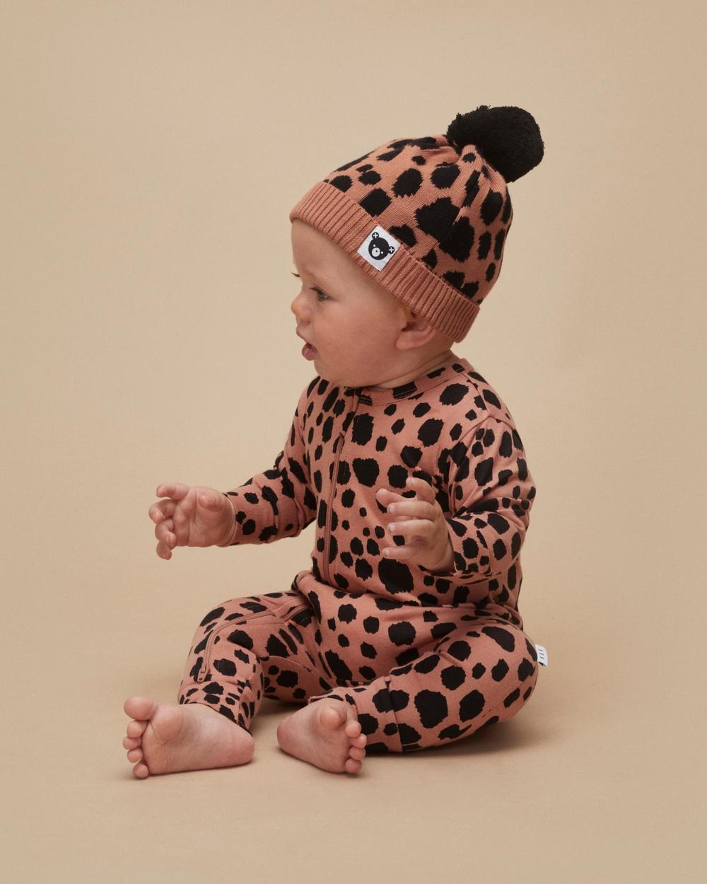 Huxbaby Ocelot Zip Romper Babies Longsleeve Rompers Terracotta