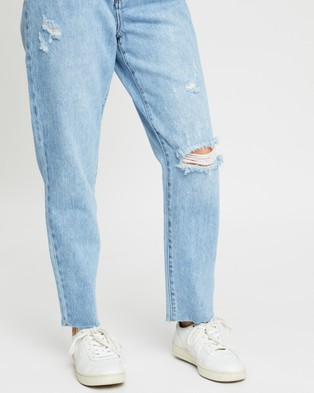 Atmos&Here Cairo Ripped Mom Jeans - Mom Jeans (Vintage Blue)