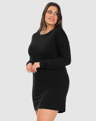 B Free Intimate Apparel Bamboo Long Sleeve Relaxed Fit Dress - Sleepwear (Black)