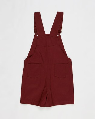 Wild Island The Wildling Overalls Shorts   Kids - Jumpsuits & Playsuits (Red Earth)
