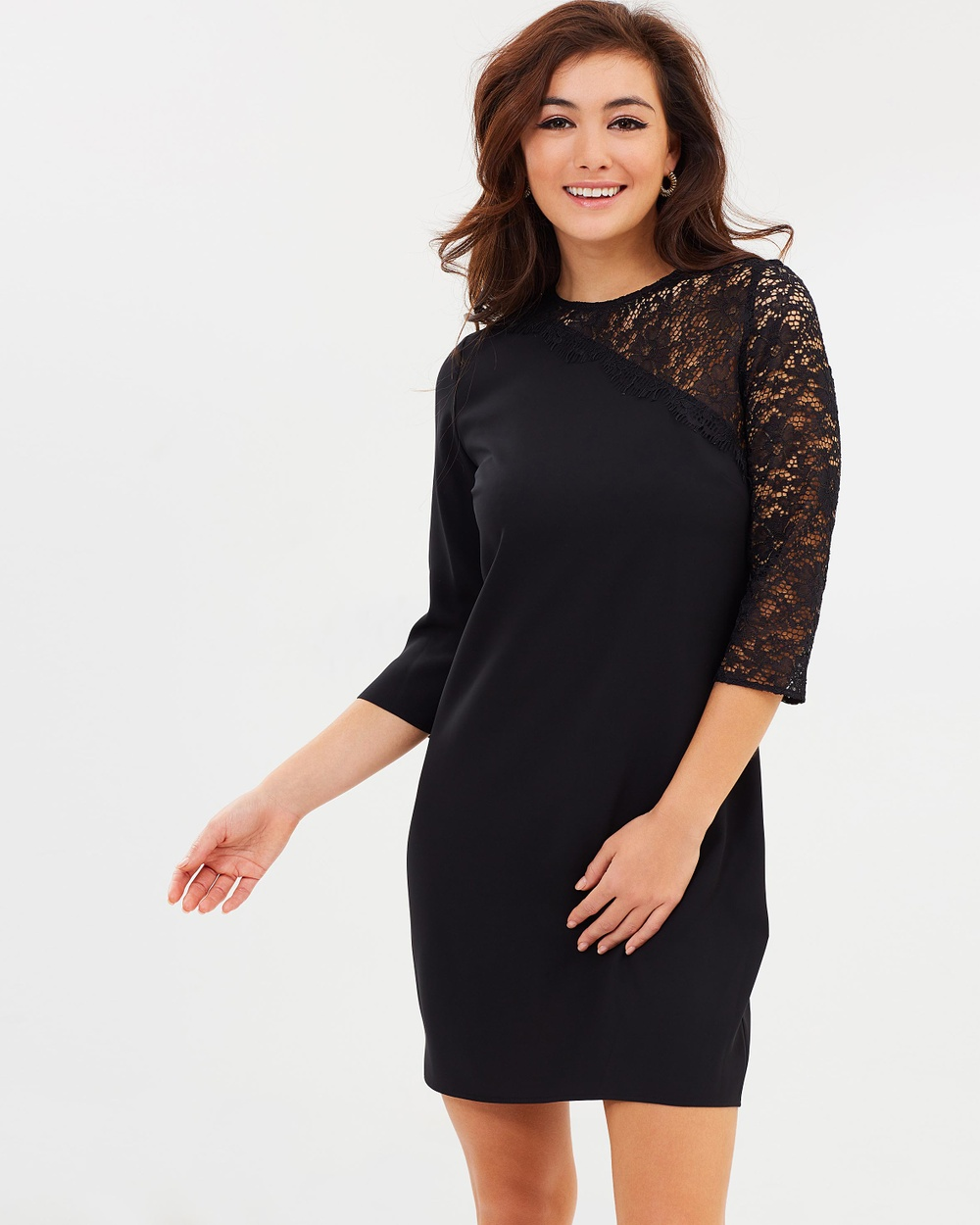 Dorothy Perkins Lace Asymmetric Shoulder Shift Dress Dresses Black Lace Asymmetric Shoulder Shift Dress