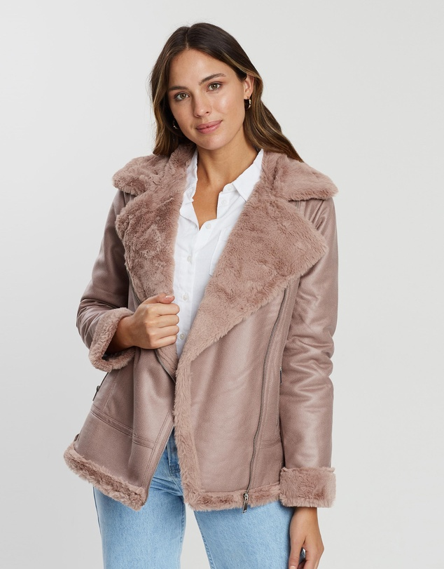 f5ca6bb8f Faux Leather Shearling Jacket