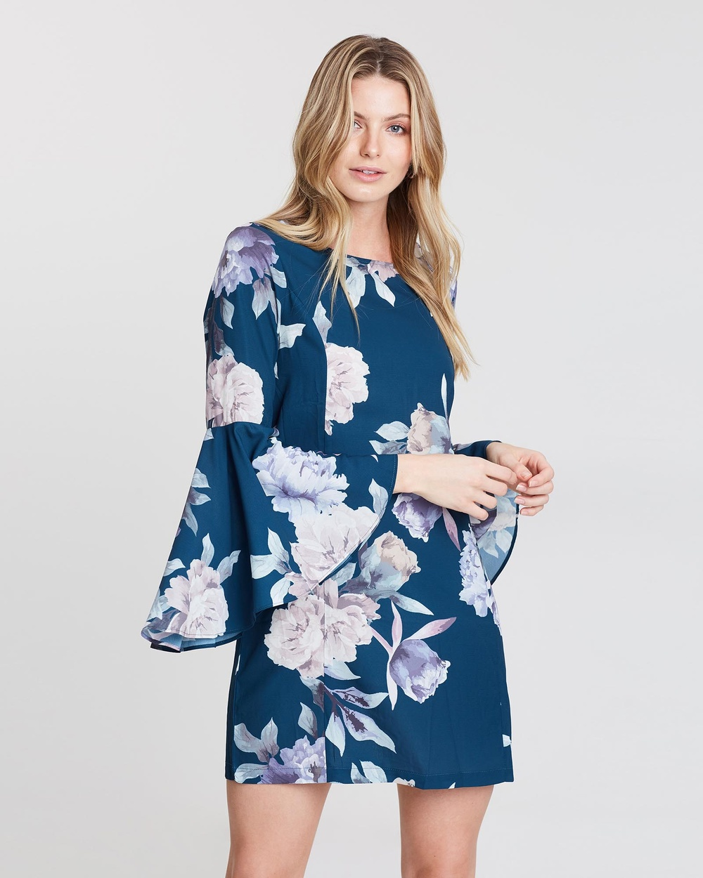 St. Frock Teal With Floral Print Lyon Dress