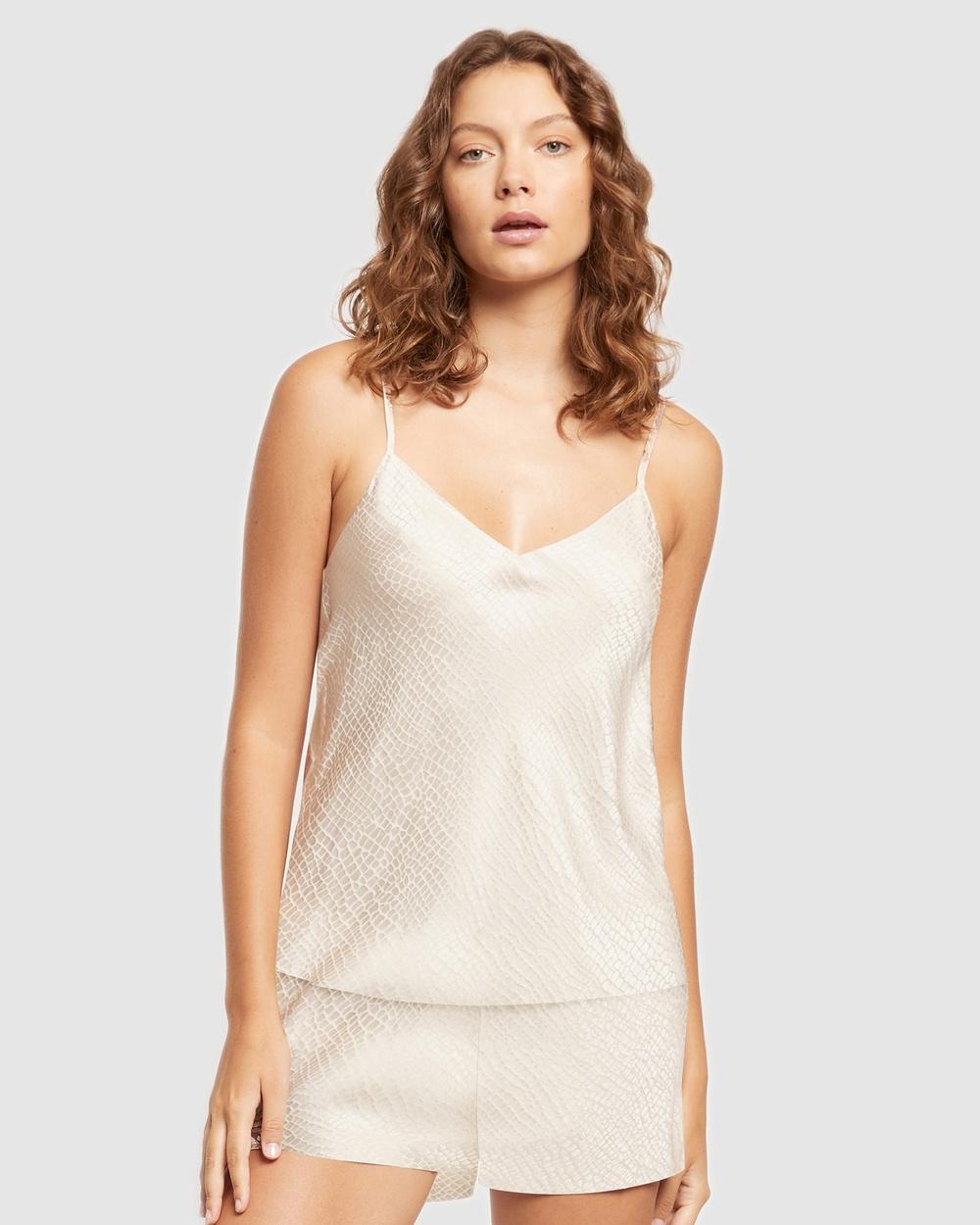 GINIA Silk Jacquard Cami Sleepwear Pearled Ivory