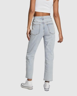 Cotton On - Straight Stretch Jeans - High-Waisted (Roadknight Blue) Straight Stretch Jeans