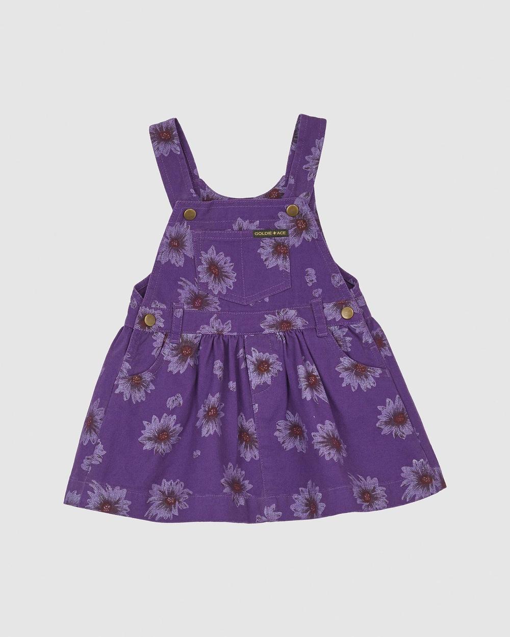Goldie + Ace THE ICONIC EXCLUSIVE Vintage Wash Daisies Denim Dress Babies Kids Printed Dresses Purple Babies-Kids Australia