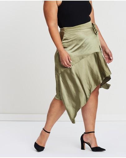 Atmos&here Curvy Annie Wrap Skirt Khaki