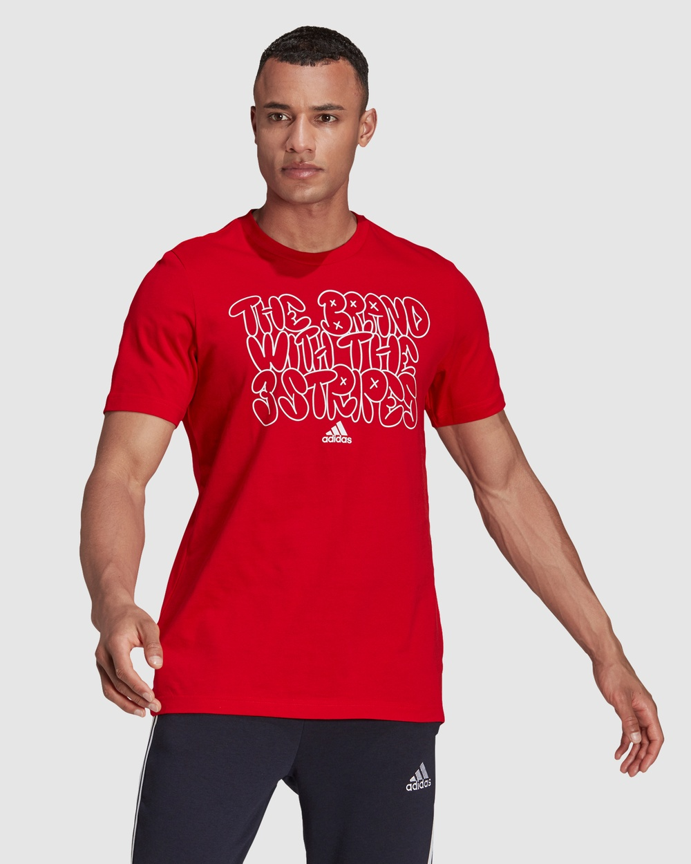 adidas Performance The Brand With the Three Stripes Doodle Graphic Tee T-Shirts & Singlets Red