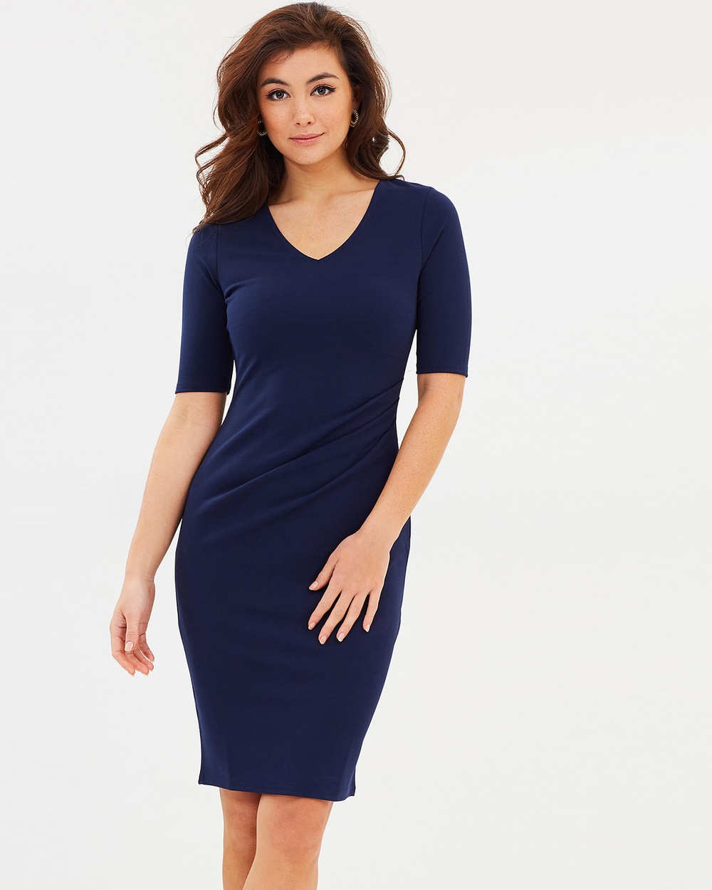 Dorothy Perkins Ruched Bodycon Dress Bodycon Dresses Navy Blue Ruched Bodycon Dress