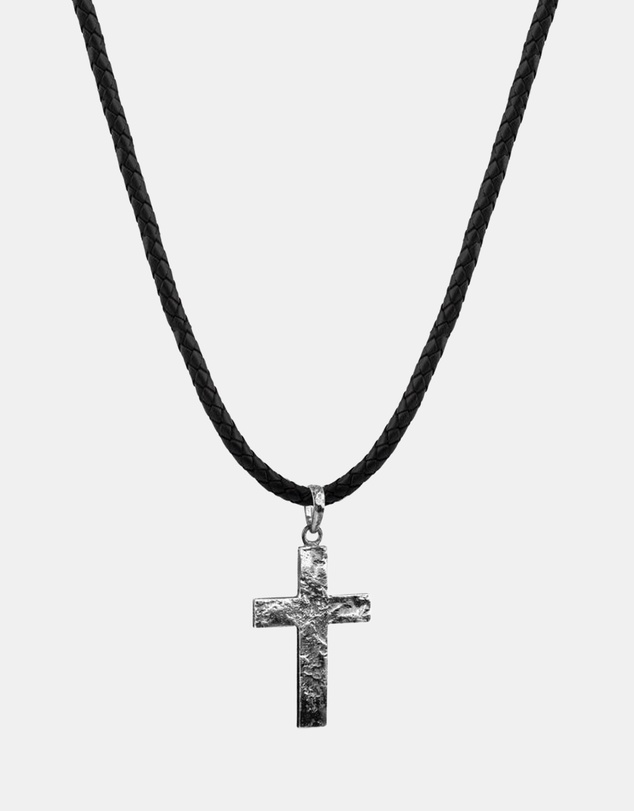 Men Necklace Cross Oxidized Leather 925 Sterling Silver