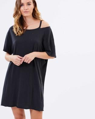 MINKPINK – Cement Distressed Tee Dress – Dresses (Charcoal)