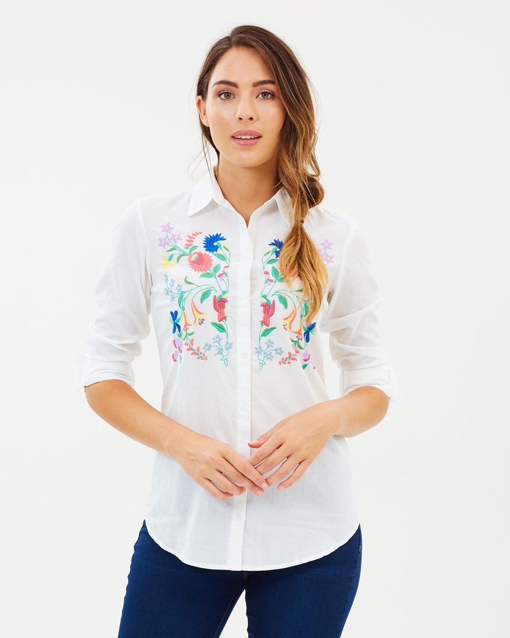 Dorothy Perkins Embroidered Shirt Tops Ivory Embroidered Shirt
