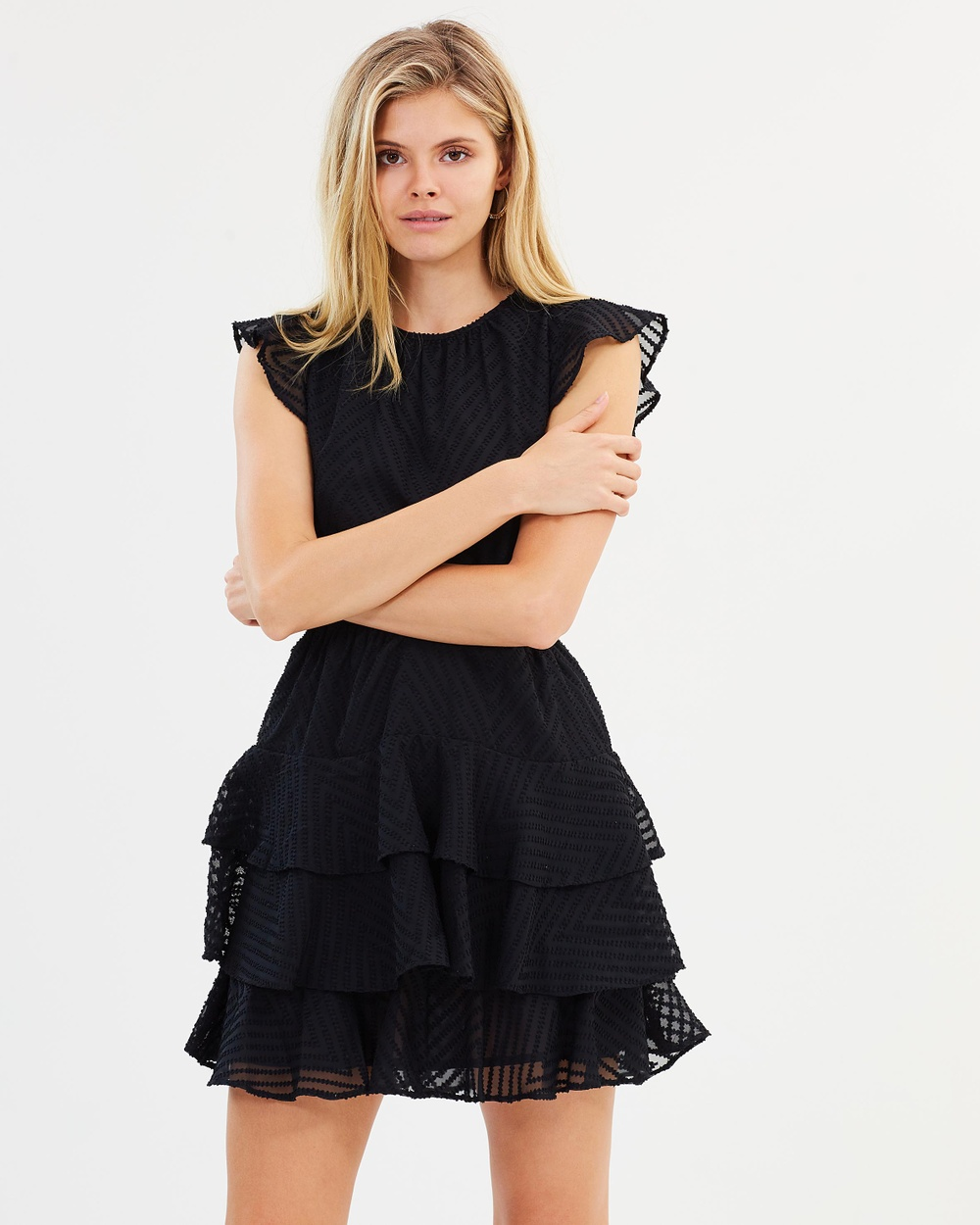 Atmos & Here ICONIC EXCLUSIVE Utopia Frill Mini Dress Dresses Black ICONIC EXCLUSIVE Utopia Frill Mini Dress